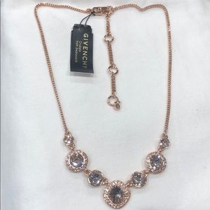 Givenchy crystal frontal rose gold necklace